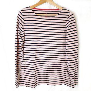Boden Long Sleeve Pink Black Stripe Top